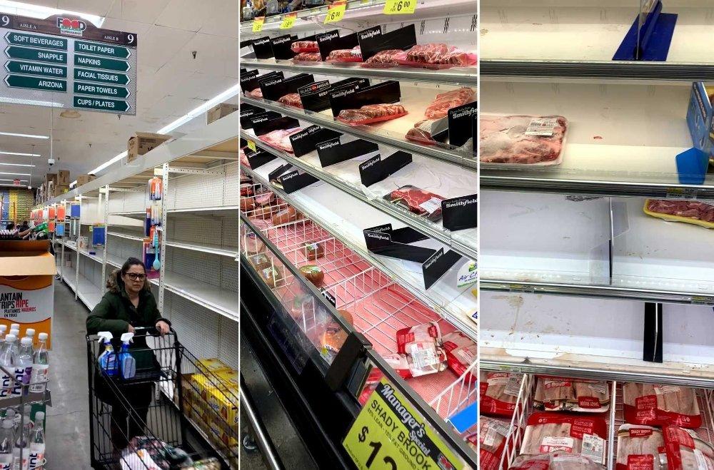 Klikk på bildet for å forstørre. Koronakrisen førte også til hamstring av mat i New York. Disse bildene tok jeg i en matbutikk i Queens i mars i år.