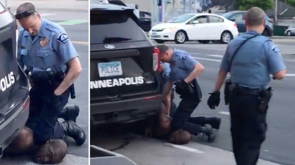 Klikk på bildet for å forstørre. George Floyd døde i politiets varetekt etter at en politibetjent, som brukte kneet sitt til å holde ham nede, holdt ham nede i dette grepet i om lag åtte minutter. Hendelsen førte til at fire politifolk i Minneapolis fikk sparken kort tid etter.