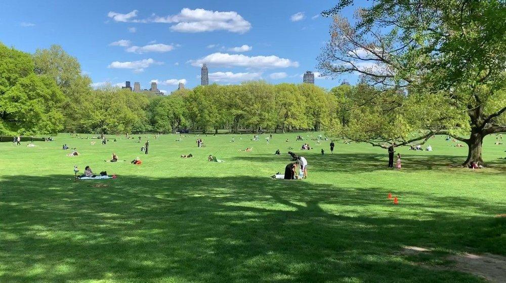 Klikk på bildet for å forstørre. Mange i New York City sitter inne, men nå begynner også mange å bevege seg ut. Dette bildet er fra Central Park en soldag i april.