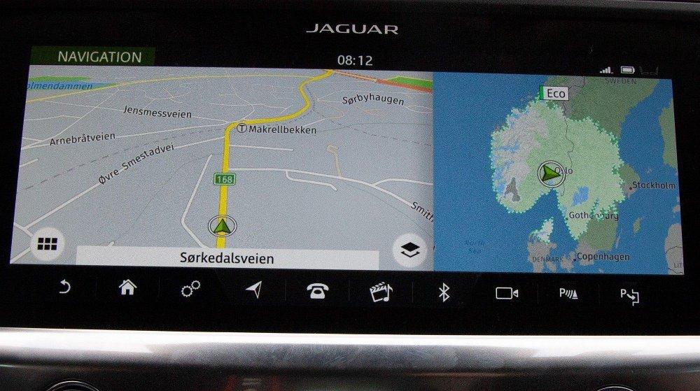 Klikk på bildet for å forstørre. Bilen mente ved turens start at store deler av Sør-Norge, samt midtre deler av Sverige var innenfor rekkevidde uten ladestopp.