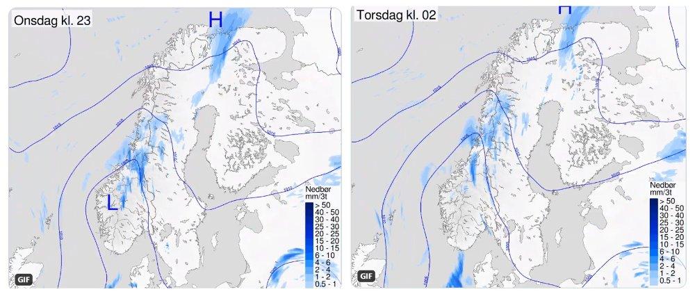 Klikk på bildet for å forstørre. KALDFRONT: Etter en flott pinsehelg i hele Norge, kommer det nå en kaldfront inn fra havet som betyr kjøligere og mer ustabilt vær enkelte steder.