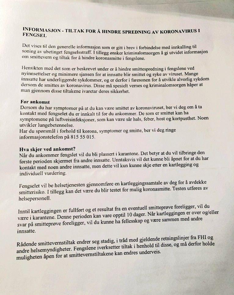 Klikk på bildet for å forstørre. Innkallingsbrev til Ullersmo fengsel. På denne siden går det frem at innsatte må i koronakarantene de ti første dagene i fengsel.