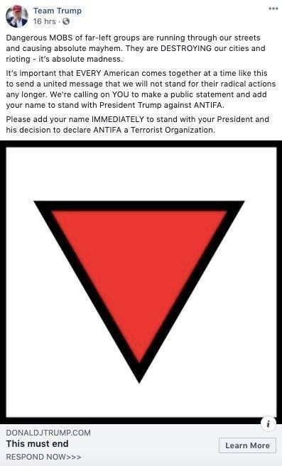 Klikk på bildet for å forstørre. Annonsene som ble stoppet er rettet mot antifascistiske bevegelsen Antifa, og oppfordret Trump-tilhengere til å støtte presidentens oppfordringer om å erklære gruppen som en terrororganisasjon.