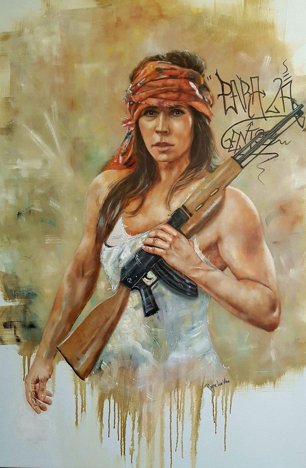 Klikk på bildet for å forstørre. Selvportrett av Ragna Lise Vikre. Hun malte seg selv som kriger da borgerkrigen brøt ut i Syria i 2014. Hun ønsker ikke å si mer om bildet.