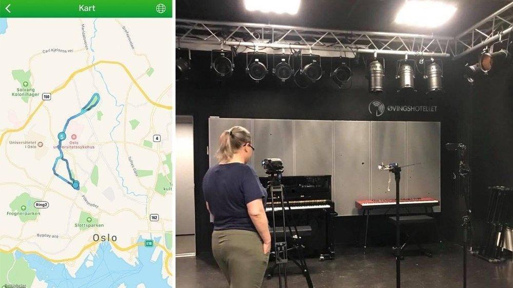 Klikk på bildet for å forstørre. ALIBI: Klokken 19.10, bare timer etter ugjerningen kan ha skjedd, er søster innlogget fra Oslo i appen Endomondo. Bildet til høyre har min søster tatt onsdag klokken 16.44. Metadata viser at det er tatt i Oslo.