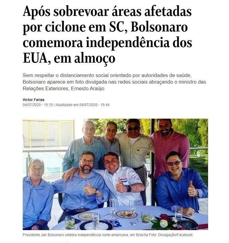 Klikk på bildet for å forstørre. Brasils president Jair Bolsonaro stilte uten munnbind da han lørdag feiret USAs nasjonaldag.
