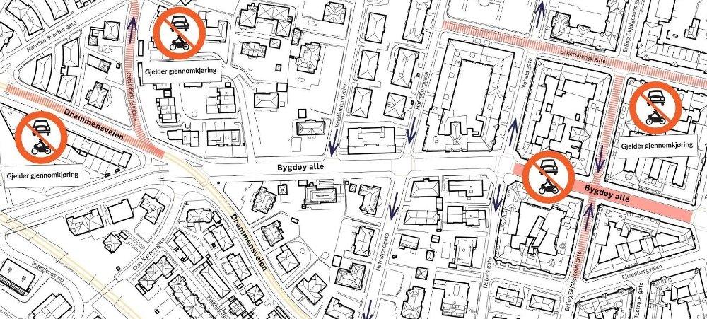 Klikk på bildet for å forstørre. Kart over Bygdøy allé og Drammensveien