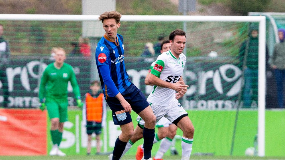 Klikk på bildet for å forstørre. Gråkammen 20190501. Stabæks Kristoffer Askildsen under den første NM-runden i fotball mellom Heming og Stabæk.