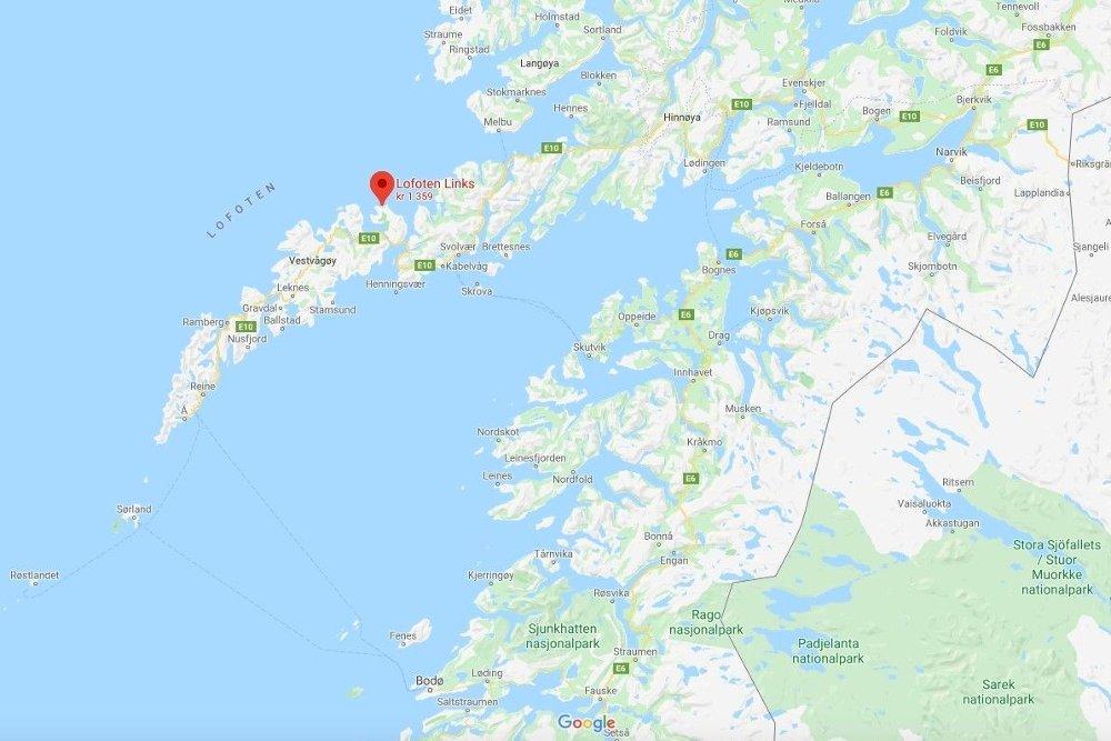 Klikk på bildet for å forstørre. Kartet viser at Lofoten Links ligger ved sjøen ut mot Vesterålen.