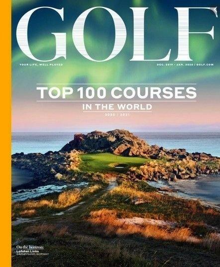 Klikk på bildet for å forstørre. FRONTEN: Lofoten Golf Links har vært på forsiden av prestisjefulle Golf Magazine.