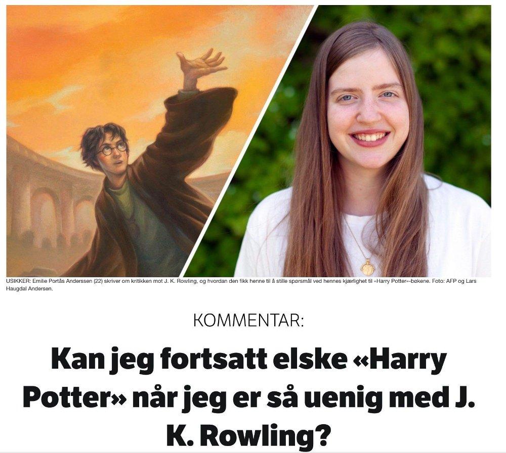 Klikk på bildet for å forstørre. FURORE: Denne kommentaren fra en NRK P3-journalist hadde først tittelen: «Kan man fortsatt elske «Harry Potter» når J.K. Rowling er så latterlig transfobisk?»