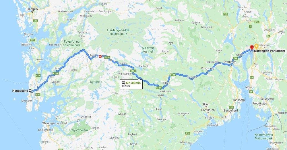 Klikk på bildet for å forstørre. Google Maps viser at strekningen er på 442 kilometer.