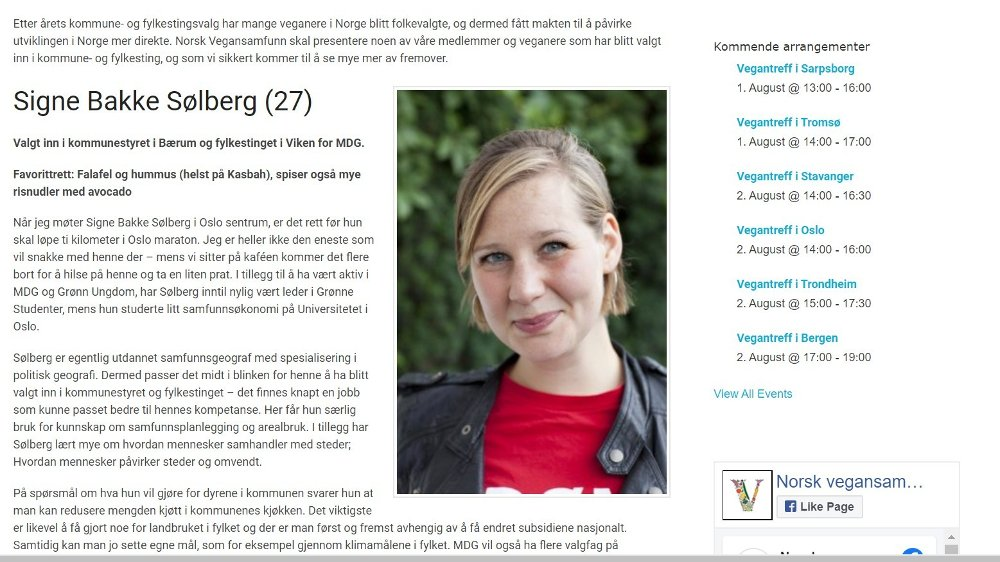 Klikk på bildet for å forstørre. Slik presenteres kommunestyrerepresentant i Bærum og fylkestingsrepresentant i Viken, Signe Bakke Sølberg, på Norsk Vegansamfunn sin nettside. Som det fremgår så er hun opptatt av å redusere kjøttforbruket i kommunen.