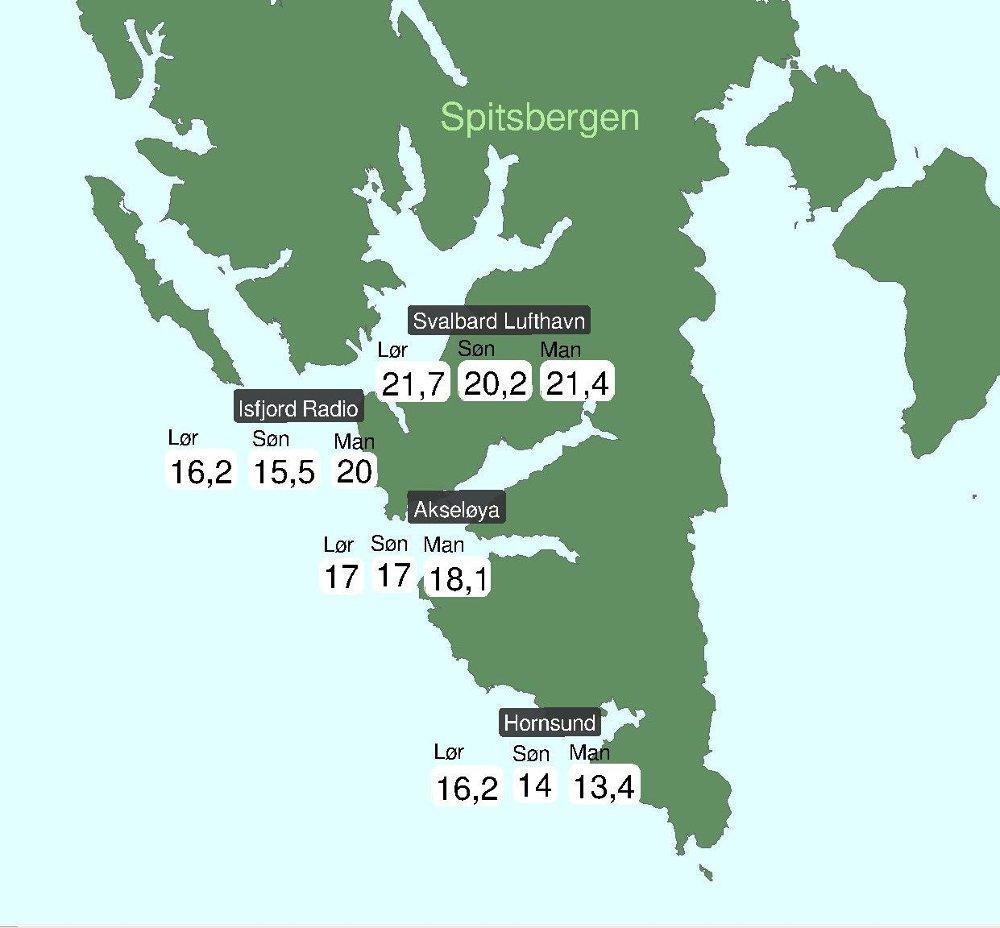 Klikk på bildet for å forstørre. VARMT: Svalbard er ikke vant med å se temperaturer over 20 grader, selv på sommerstid. Mandag ble det målt 21,4 grader i Longyearbyen.