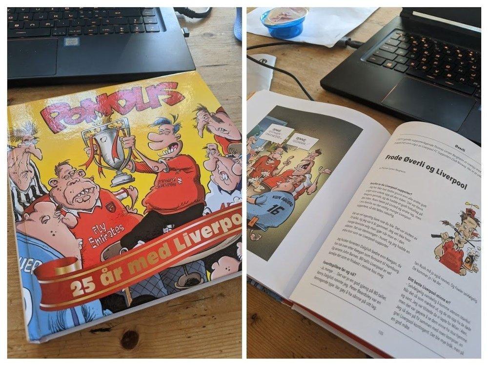 Klikk på bildet for å forstørre. 25 år med Liverpool og Pondus har fått en egen bok
