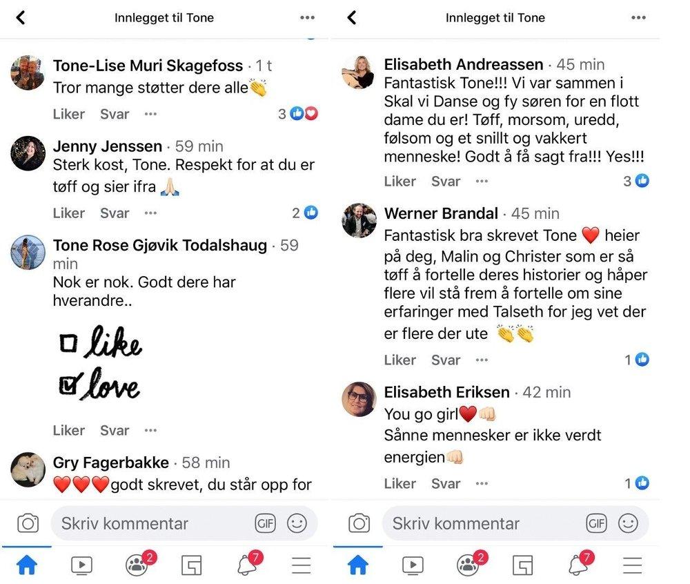 Klikk på bildet for å forstørre. STØTTE: Flere gir Tone Damli støtte for at hun våget å poste Facebook-innlegget om VG.