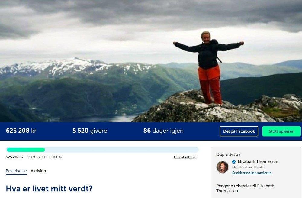 Klikk på bildet for å forstørre. SPLEISELAG: Thomassen har opprettet et spleiselag på spleis.no, og får også donasjoner via Vipps. I skrivende stund har hun totalt fått inn 830.000 kroner.