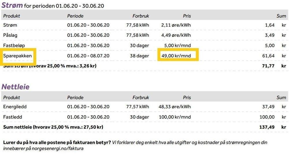 Klikk på bildet for å forstørre. FAKTURA: Slik ser det ut på fakturaen til Naeem Azam, som betaler for sparepakken til NorgesEnergi.