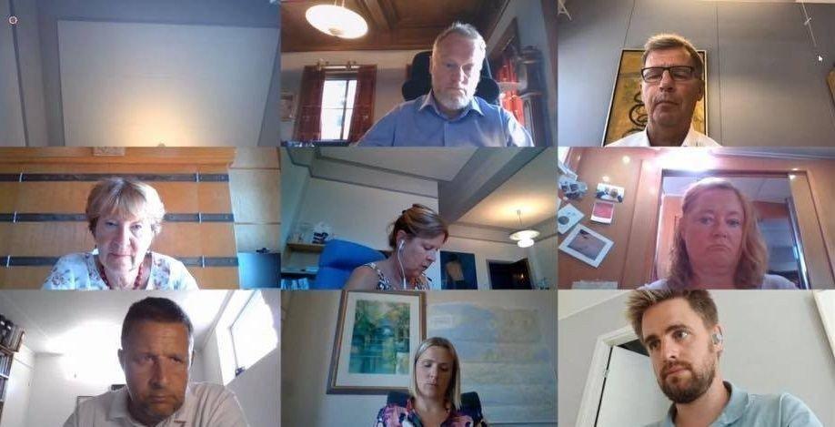 Klikk på bildet for å forstørre. Møtet i forretningsutvalget ble gjennomført digitalt.