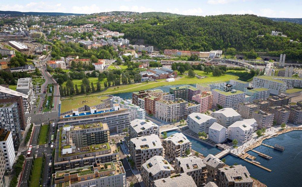 Klikk på bildet for å forstørre. NYTT BOLIGKVARTAL: Innerst i Bjørvika, ikke langt fra Middelalderparken, kommer det nye Clemenskvartalet.