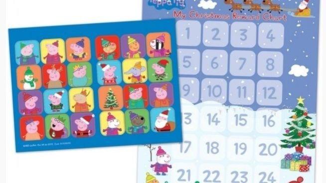 Klikk på bildet for å forstørre. Peppa Gris-kalenderen er en adventskalender med klistremerker. En for hver dag.