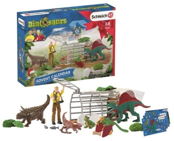 Klikk på bildet for å forstørre. Dinosaurkalenderen til Schleich har alt fra figurer til kort. Noe som vil glede, og noe smått.