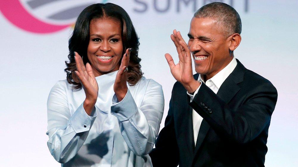 Klikk på bildet for å forstørre. EKTEPAR: Michelle Obama sier i podkasten sin at det er viktig å finne en partner man kan spille på lag med.