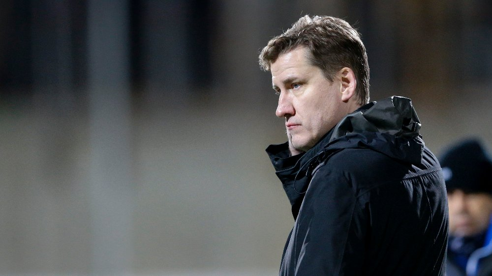 Click on the image to enlarge.  Haugesund 20181124. Start sports manager Tor-Kristian Karlsen after the match.  The elite series match in football between FK Haugesund and Start at Haugesund Stadium.