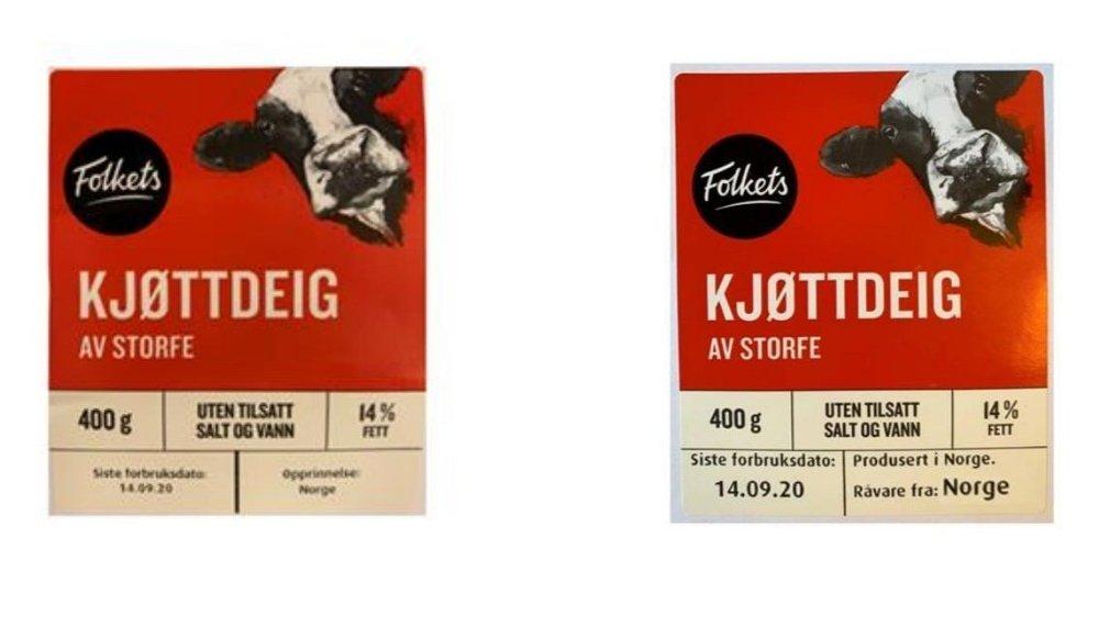 Klikk på bildet for å forstørre. BEDRE MERKING: Nå står det kun opprinnelsesland på kjøttdeigpakningene som selges hos Norgesgruppen. Nå produserer de nye etiketter, hvor det påpekes hvor råvaren kommer fra.