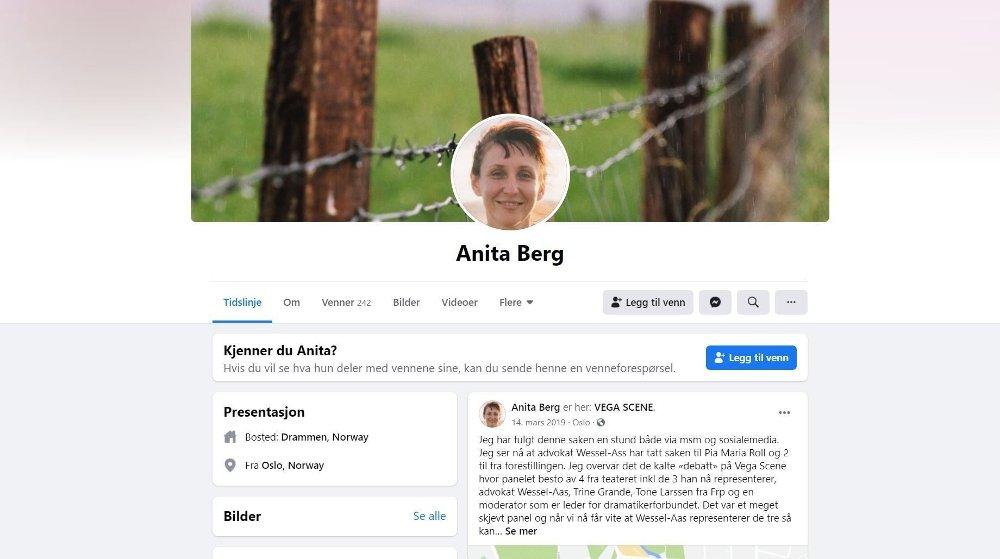 Klikk på bildet for å forstørre. Laila Anita Bertheussen utga seg for å være Anita Berg på Facebook. Bildet er hentet fra en reklame, og er trolig et illustrasjonsfoto, da det er brukt i mange forskjellige sammenhenger.