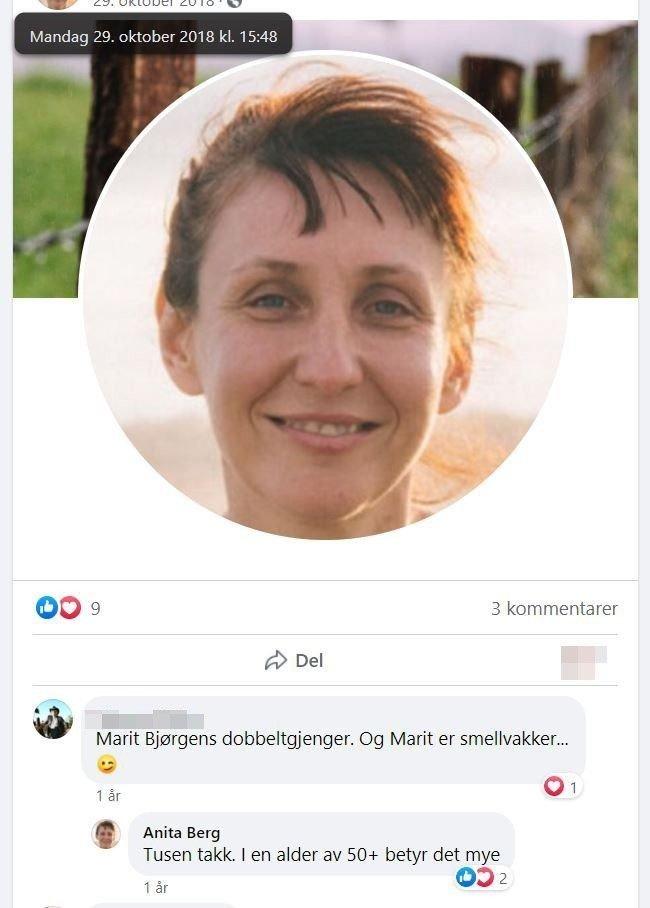 Klikk på bildet for å forstørre. Under det falske profilbildet har en kommentert at kvinnen ligner på Marit Bjørgen. Noe Laila, i rollen som Anita Berg takker for.