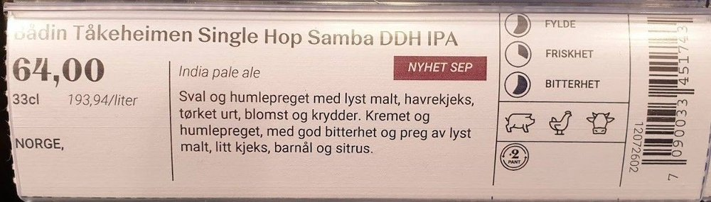Klikk på bildet for å forstørre. Nærbilde hylleetikett Bådin Tåkeheim.