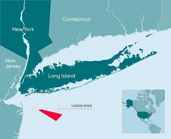 Klikk på bildet for å forstørre. HAVVIND: Et sted mellom 60 til 80 vindmøller på høyde med ikoniske Chrysler Building skal settes opp i området, som ligger drøyt 30 kilometer syd for Long Island.