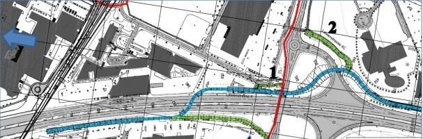 Klikk på bildet for å forstørre. KRYSSER: Planen er at sykkelstamvegen skal krysse E39 i en ny bro fra vestsiden til østsiden, noe som betyr at deler av parkeringsplassen til Ikea blir berørt.