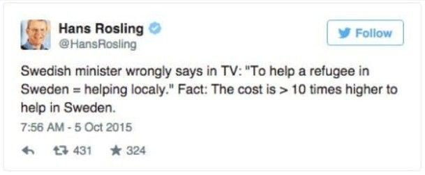 Klikk på bildet for å forstørre. ADVARER: Den anerkjente medisinske eksperten og statistikeren Hans Rosling mener at kostnadene ved å hente en flyktning er 10 ganger høyere enn å hjelpe dem lokalt.