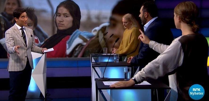 Klikk på bildet for å forstørre. Masud Gharahkhani og Fredrik Solvang i Debatten på NRK.