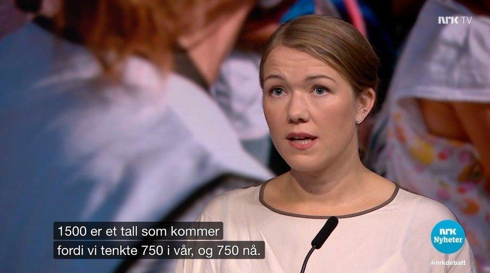 Klikk på bildet for å forstørre. TENK PÅ ET TALL: Miljøpartiet De Grønnes leder Une Bastholm mener at Norge bør hente 1.500 av de som tidligere bodde i Moria-leiren.