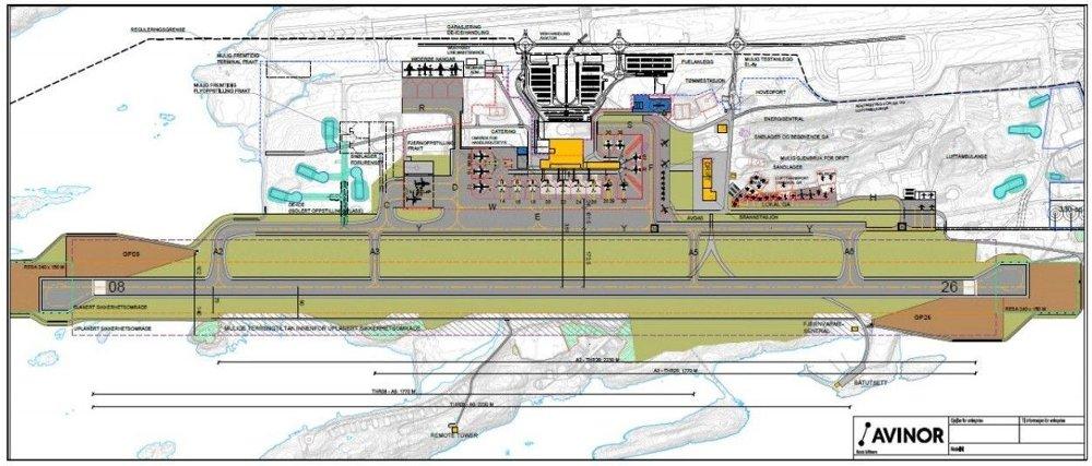 Klikk på bildet for å forstørre. LEDIG PLASS: Slik blir Bodø lufthavn hvis den flyttes fra øverst på tegningen der den ligger i dag, og til bunnen.