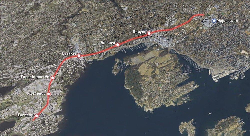 Klikk på bildet for å forstørre. Trasé og stasjoner for Fornebubanen.