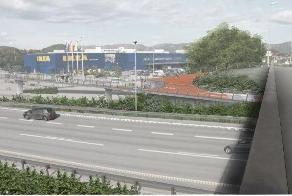 Klikk på bildet for å forstørre. STRIDENS KJERNE: Sykkelstamvegen skal krysse E39 på en bro, og vil dermed ta en rekke parkeringsplasser fra Ikea på Forus.