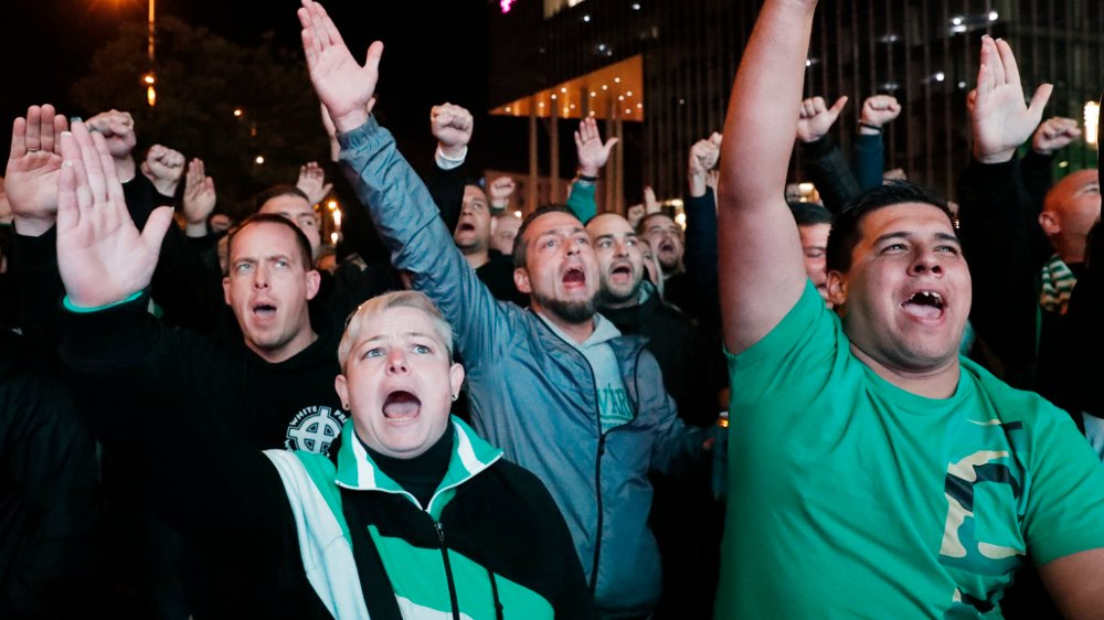 Click on the image to enlarge. GOOD MOVEMENT: Many Ferencvaros fans had gathered outside the stadium to support the team on the road to the Champions League.