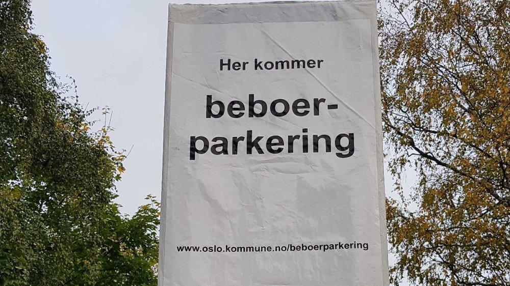 Klikk på bildet for å forstørre. Bymiljøetaten ga beboerne først beskjed om at de skulle innføre beboerparkering.