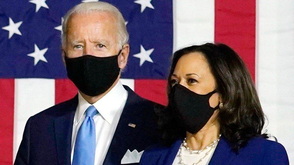 Klikk på bildet for å forstørre. Demokratenes presidentkandidat Joe Biden sammen med sin visepresidentkandidat Kamala Harris