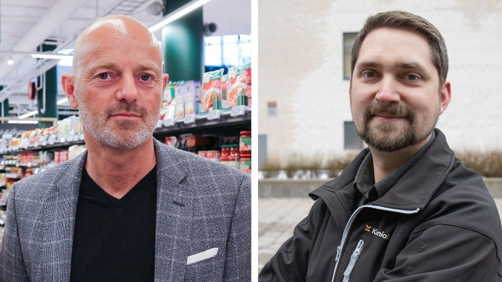 Klikk på bildet for å forstørre. IKKE FORNØYDE: Både Bjørn Takle Friis, kommunikasjonsdirektør i Coop Norge, eller Karl Munthe-Kaas, administrerende direktør i Kolonial.no, misliker at de får dårligere innkjøpsbetingelser enn Norgesgruppen.