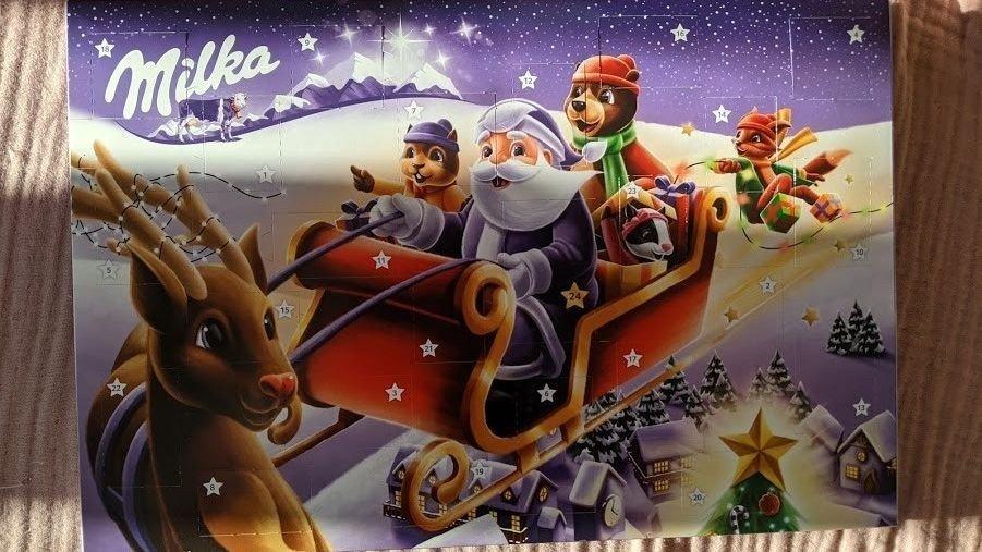 Klikk på bildet for å forstørre. Milka sjokoladekalender. Fin julestemning.