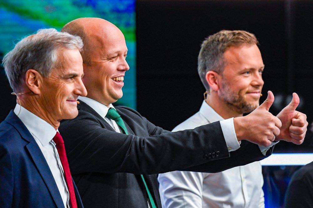 Klikk på bildet for å forstørre. Ap ved Jonas Gahr Støre , Sps Trygve Slagsvold Vedum og SVs Audun Lysbakken under en partilederdebatt i Bergen i 2019.