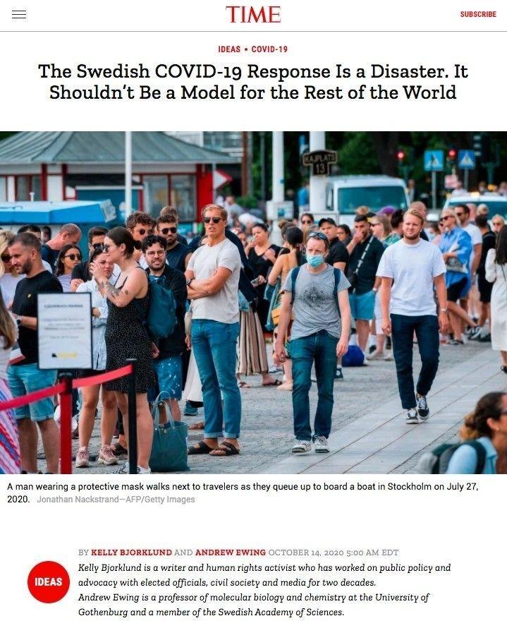 Klikk på bildet for å utvide. Fokus: Time magazine fokuserer på den svenske koronastrategien i en artikkel.