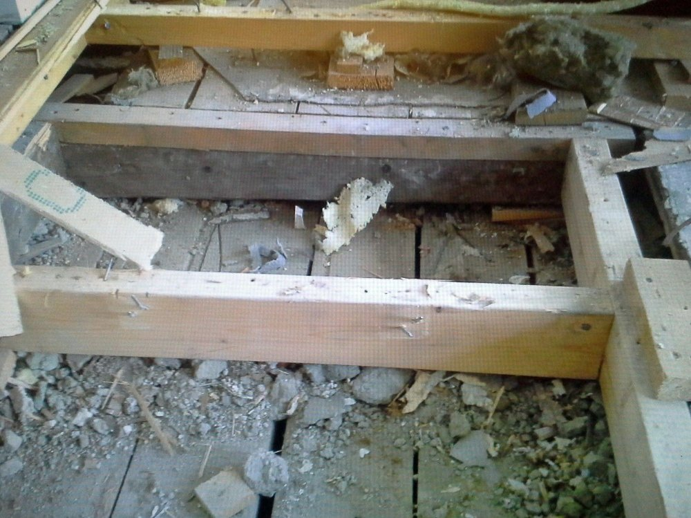 Klikk på bildet for å forstørre. Dette bildet viser skader etter at mus har hatt «fest» på isolasjonsmateriale og andre godbiter i ei hytte. Hele gulvet måtte brytes opp for å få bort muselort og døde dyr.