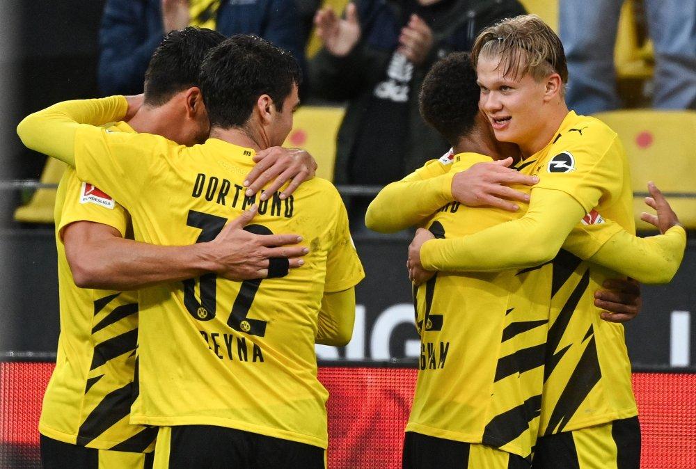 Klikk på bildet for å forstørre. Dortmund's Norwegian forward Erling Braut Haaland / DFL REGULATIONS PROHIBIT ANY USE OF PHOTOGRAPHS AS IMAGE SEQUENCES AND/OR QUASI-VIDEO