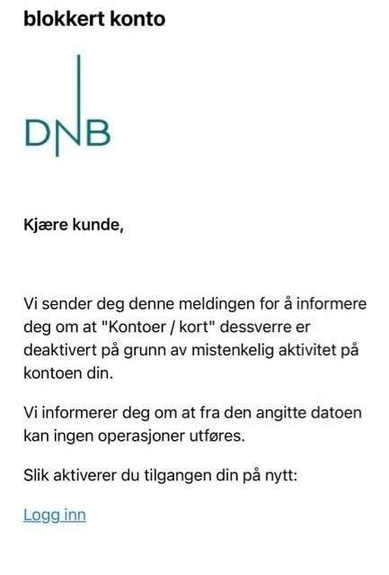 Klikk på bildet for å forstørre. ADVARER: DNB advarer mot denne mailen.